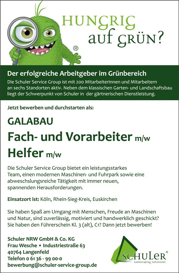Galabau Fach Und Vorarbeiter M W Galabau Helfer M W In Langenfeld