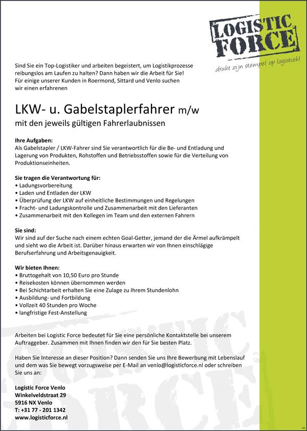 Lkw Fahrer Und Gabelstapler Fahrer M W Mit Gultigen