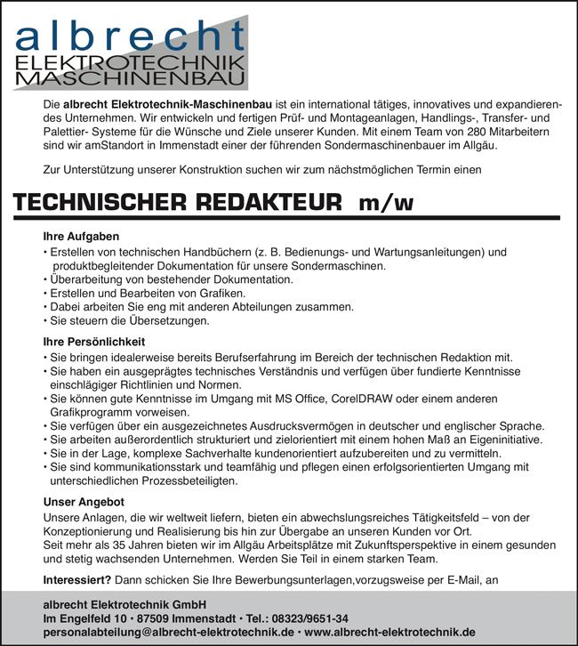 Technischer Redakteur m/w - albrecht ELEKTROTECHNK GmbH - in Immenstadt - stellenecho.de