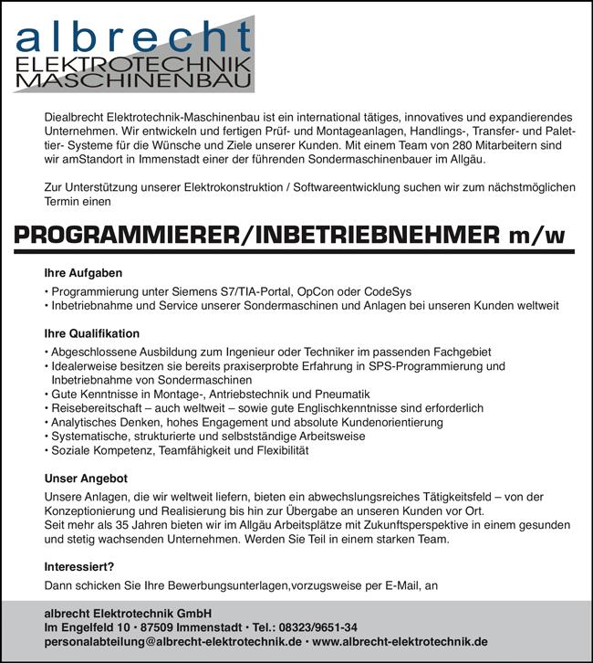 Programmierer / Inbetriebnehmer m/w - albrecht ELEKTROTECHNK GmbH - in Immenstadt - stellenecho.de