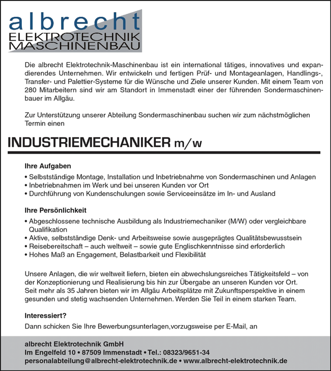 Industriemechaniker m/w - albrecht ELEKTROTECHNK GmbH - in Immenstadt - stellenecho.de