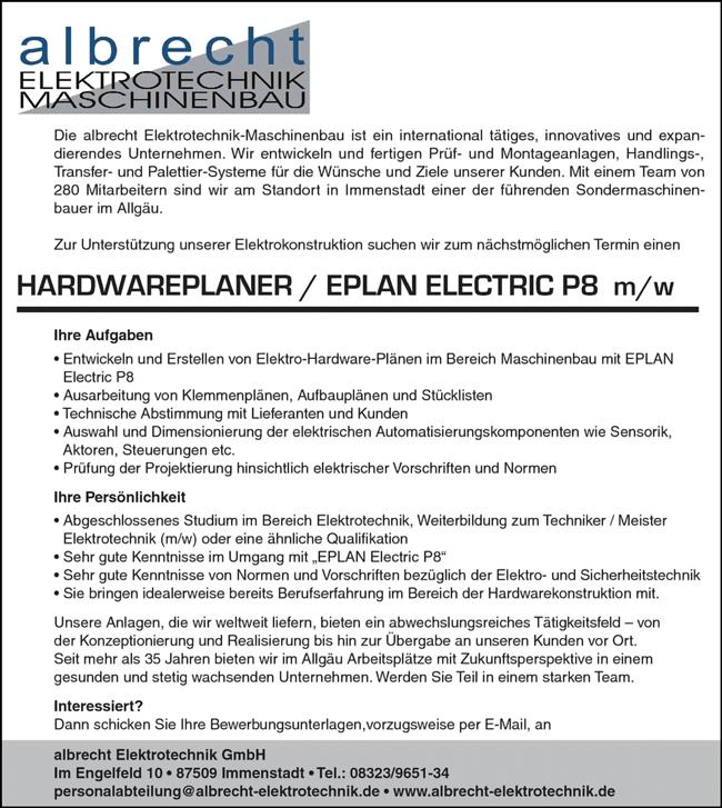 Hardwareplaner / Eplan-Electric P8, m/w - albrecht ELEKTROTECHNK GmbH - in Immenstadt - stellenecho.de