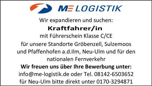 Kraftfahrer FS.-KL. C/CE, m/w - ME-Logistik GmbH - in Gröbenzell - stellenecho.de