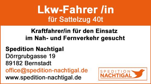 LKW-Fahrer /in  für Sattelzug 40t, im Nah- und Fernverkehr - Spedition Nachtigall - in Bernstadt - stellenecho.de