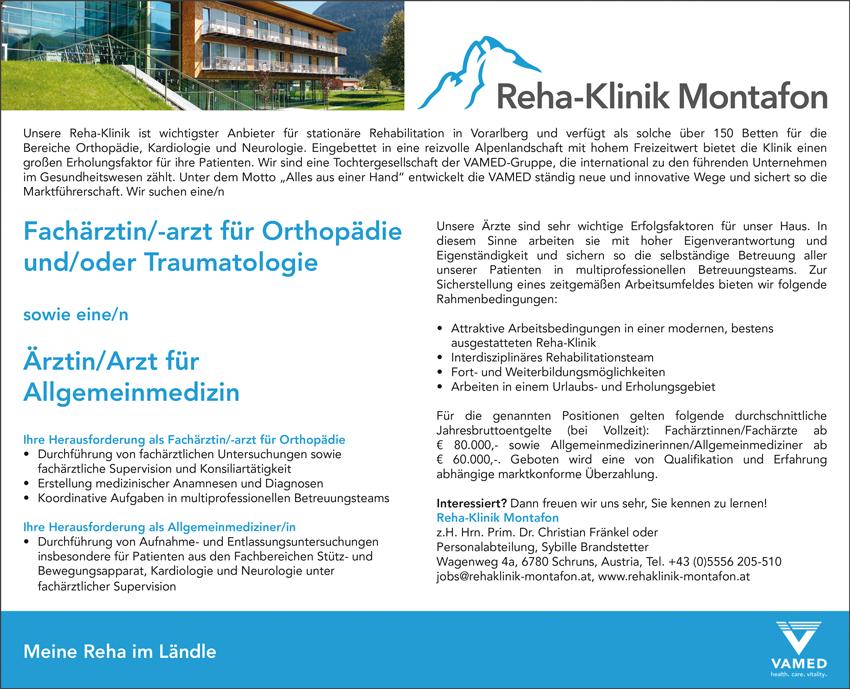 Fachärztin / Facharzt für Orthopädie  und / oder Traumatologie  sowie eine/n  Ärztin / Arzt für Allgemeinmedizin - Reha-Klinik Montafon - in Schruns - stellenecho.de