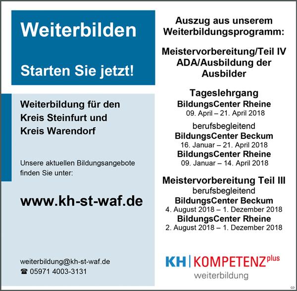 Ausbildung, Weiterbildung, Meistervorbreitung das neue Programm - Kreishandwerkerschaft Steinfurt-Warendorf - in Rheine - stellenecho.de
