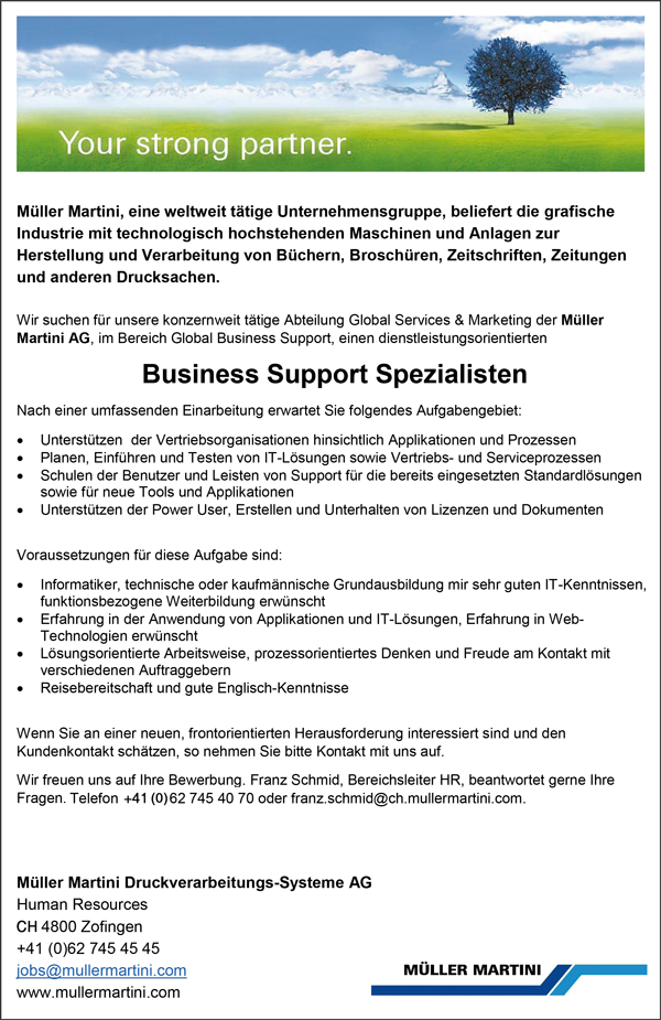 Business Support Spezialistin /  Business Support Spezialist - Müller Martini Druckverarbeitungs - Systeme AG - in Zofingen - stellenecho.de