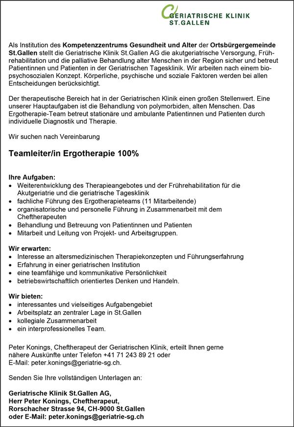 Teamleiterin / Teamleiter Ergotherapie, 100% - Geriatrische Klinik St. Gallen AG - in St. Gallen - stellenecho.de