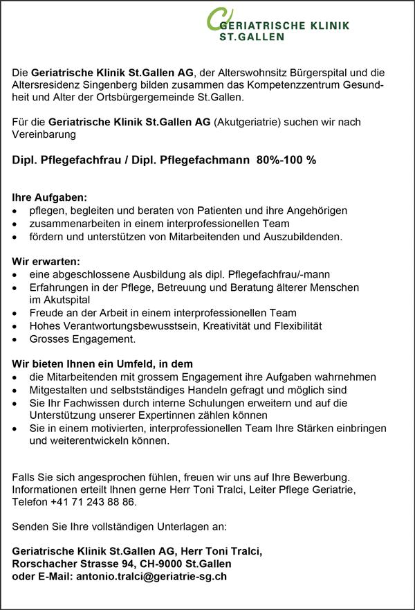 Diplom Pflegefachfrau / Pflegefachmann, 80-100% - Geriatrische Klinik St. Gallen AG - in St. Gallen - stellenecho.de
