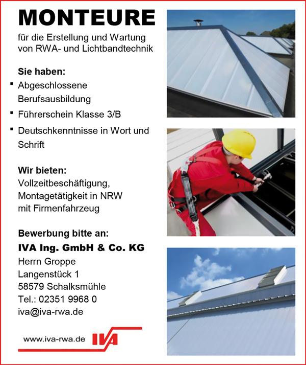 Monteure m/w für die Erstellung und Wartung von RWA- und Lichtbandtechnik für Montage in Vollzeit - IVA Ingenieurgesellschaft mbH & Co KG - in Schalksmühle - stellenecho.de