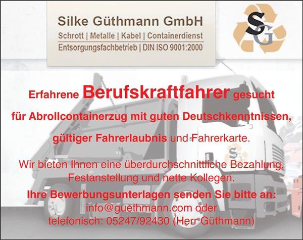Erfahrene Berufskraftfahrer m/w  gesucht, für Abrollcontainerzug mit guten Deutschkenntnissen,  gültiger Fahrerlaubnis und Fahrerkarte - Silke Güthmann GmbH - in Harsewinkel - stellenecho.de