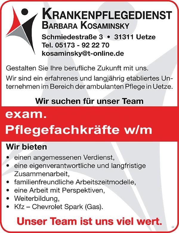examinierte Pflegefachkräfte w/m - Krankenpflegedienst Barbara Kosaminsky - in Uelze - stellenecho.de