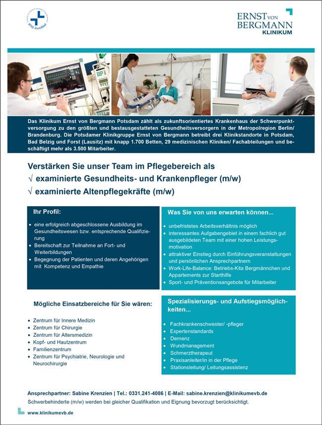 examinierte Gesundheits- und Krankenpfleger m/w  examinierte Altenpflegekräfte m/w - Klinikum Ernst von Bergmann gGmbH - in Potsdam - stellenecho.de