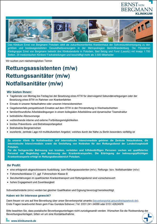 Rettungsassistenten m/w  Rettungssanitäter m/w  Notfallsanitäter m/w - Klinikum Ernst von Bergmann gGmbH - in Potsdam - stellenecho.de