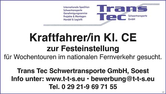 Kraftfahrer FS-Kl. CE  in Festanstellung für Wochentouren im nationalen Fernverkehr - TRANS - TEC Schwertransporte GmbH - in Soest - stellenecho.de