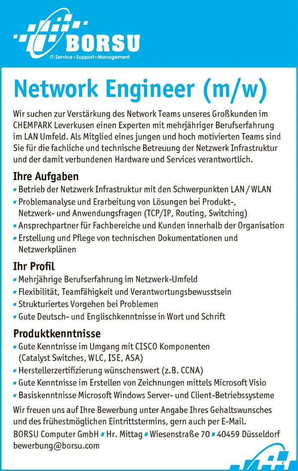 Network Engineer m/w - BORSU Computer GmbH - in Düsseldorf - stellenecho.de
