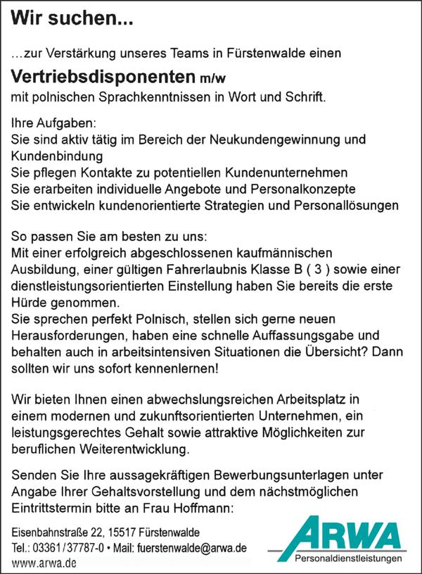 Vertriebsdisponenten m/w  mit polnischen Sprachkenntnissen in Wort und Schrift - ARWA Personaldienstleistungen - in Fürstenwalde - stellenecho.de
