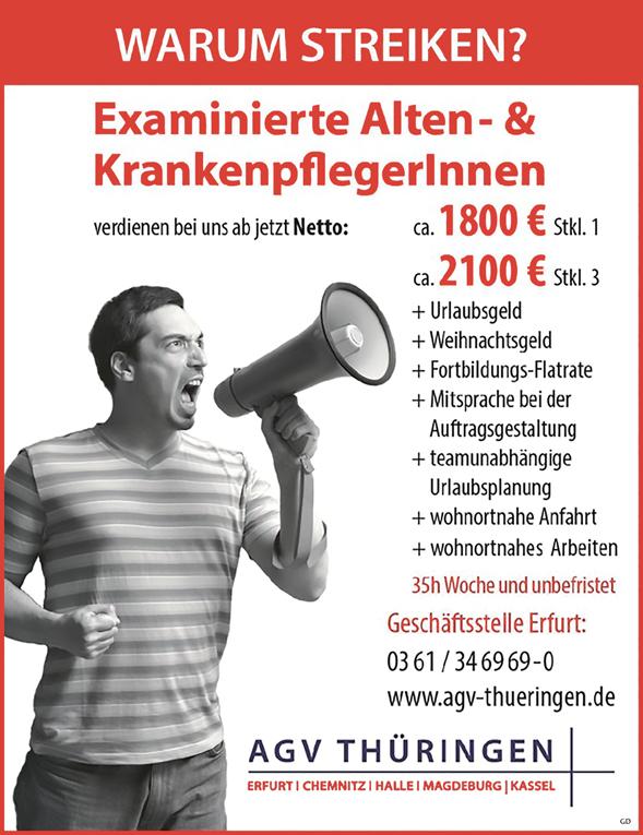 Examinierte Alten- und Krankenpfleger /innen - AGV Thüringen - in Erfurt - stellenecho.de