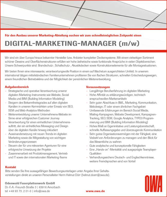 Digital-Marketing-Manager m/w - Odenwald Faserplattenwerk GmbH - in Amorbach - stellenecho.de