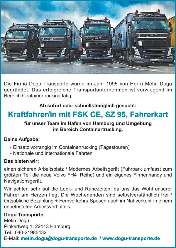 Kraftfahrerin / Kraftfahrer mit FS CE, SZ 95 und gültiger Fahrerkarte  im Bereich Hafen Hamburg und Umgebung / Containertrucking - Dogu Transporte - in Hamburg - stellenecho.de