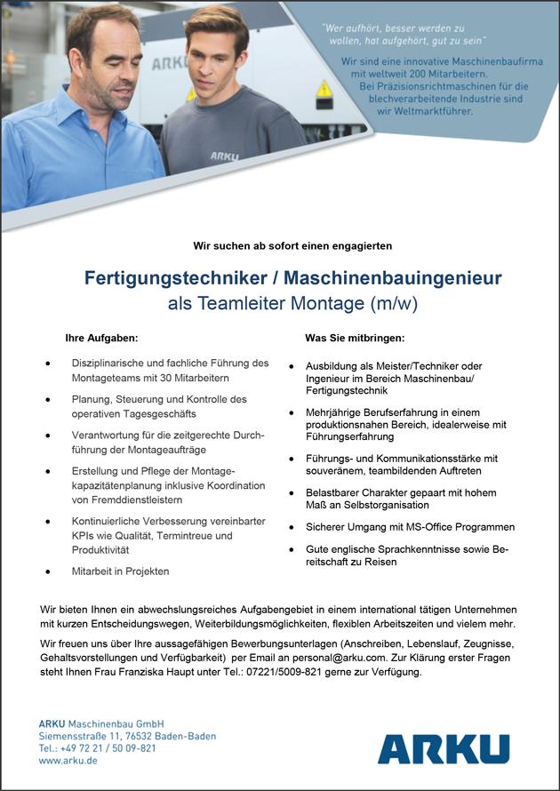 Fertigungstechniker / Maschinenbauingenieur m/w  als Teamleiter Montage - Arku Maschinenbau GmbH - in Baden-Baden - stellenecho.de