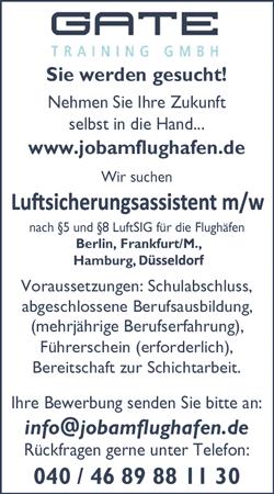 Luftsicherungsassistent / Luftsicherungsassistentin  für die Flughäfen Berlin, Frankfurt/M, Hamburg und Düsseldorf - GATE Training GmbH - in Hamburg - stellenecho.de