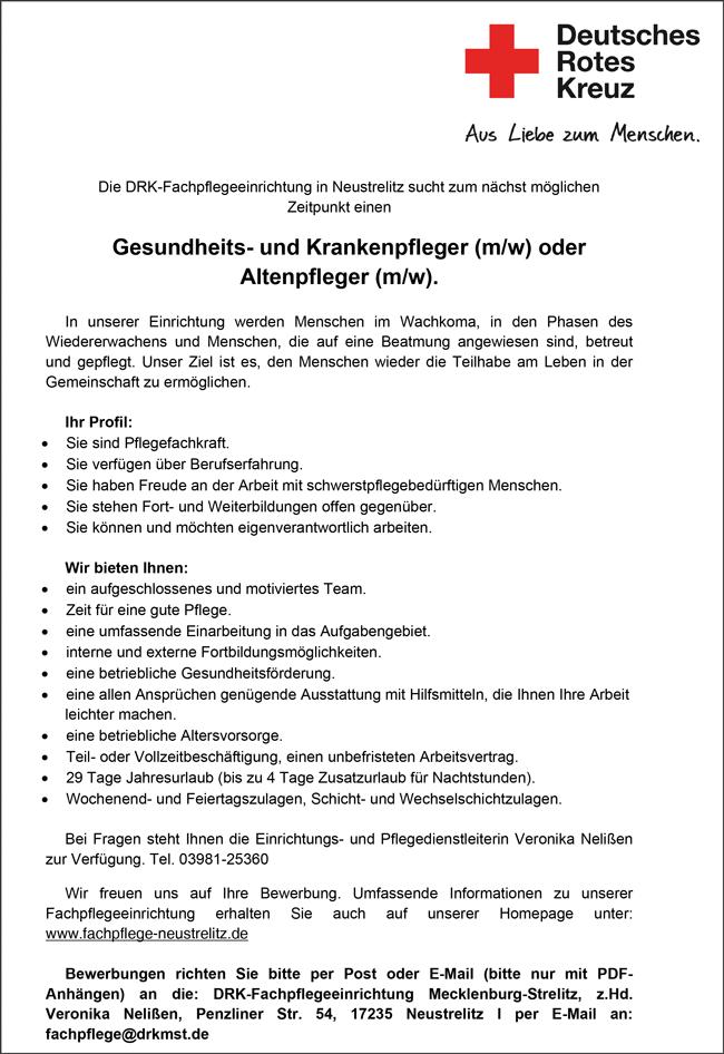 Gesundheits- und Krankenkenpfleger m/w  oder Altenpfleger m/w - Deutsches Rotes Kreuz - in Neustrelitz - stellenecho.de