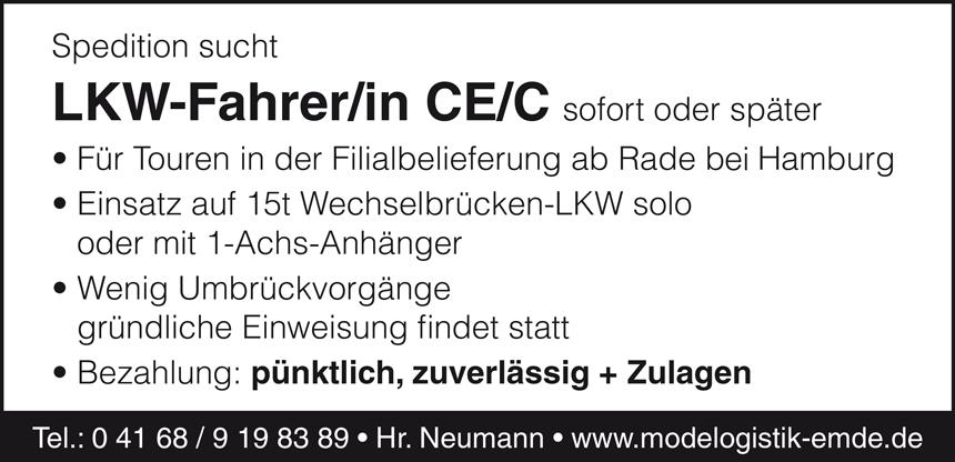 LKW-Fahrer m/w, FS-Kl. CE/C  in der Filialbelieferung ab Rade / Hamburg - Emde Speditions GmbH - in Neufinsing - stellenecho.de