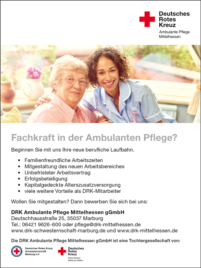 Pflegefachkräfte für die ambulante Pflege - Deutsches Rotes Kreuz ambulante Pflege Mittelhessen gGmbH - in Marburg - stellenecho.de