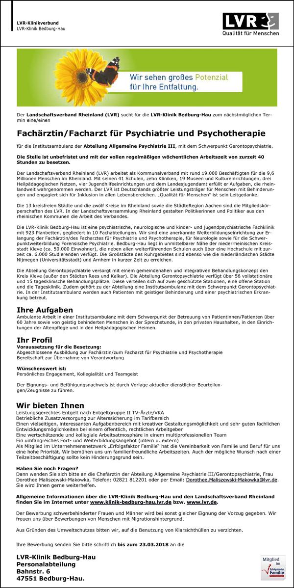Fachärztin / Facharzt für Psychiatrie und Psychotherapie - LVR-Klinik Bedburg Hau - in Bedburg-Hau - stellenecho.de