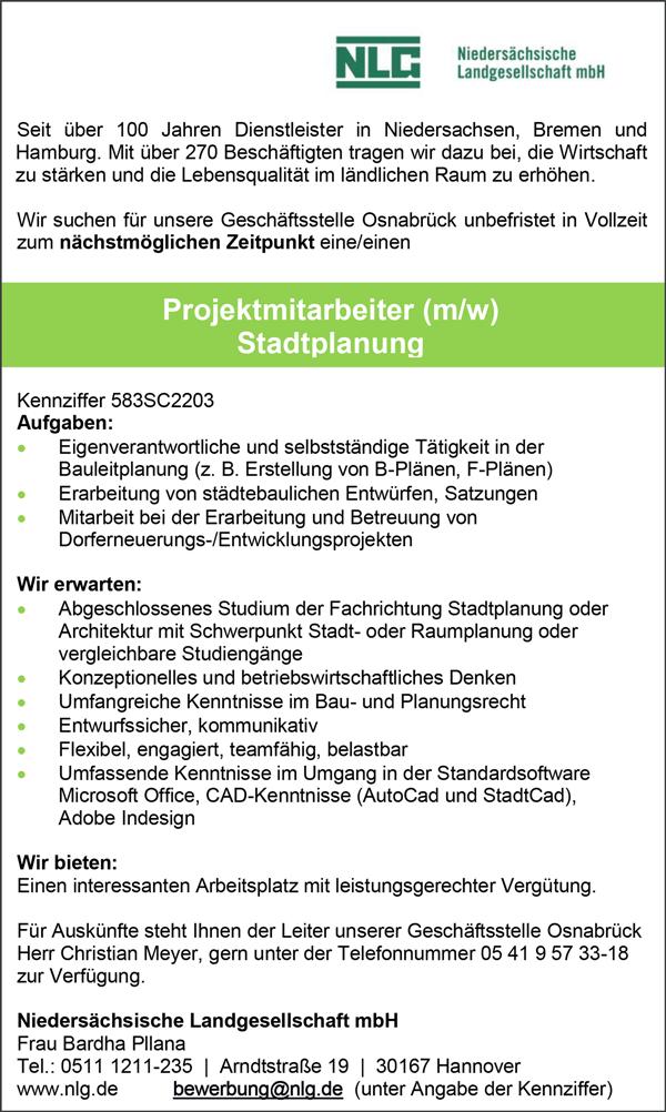 Projektmitarbeiter m/w   Stadtplanung - Niedersächsische Landgesellschaft mbH - in Hannover - stellenecho.de