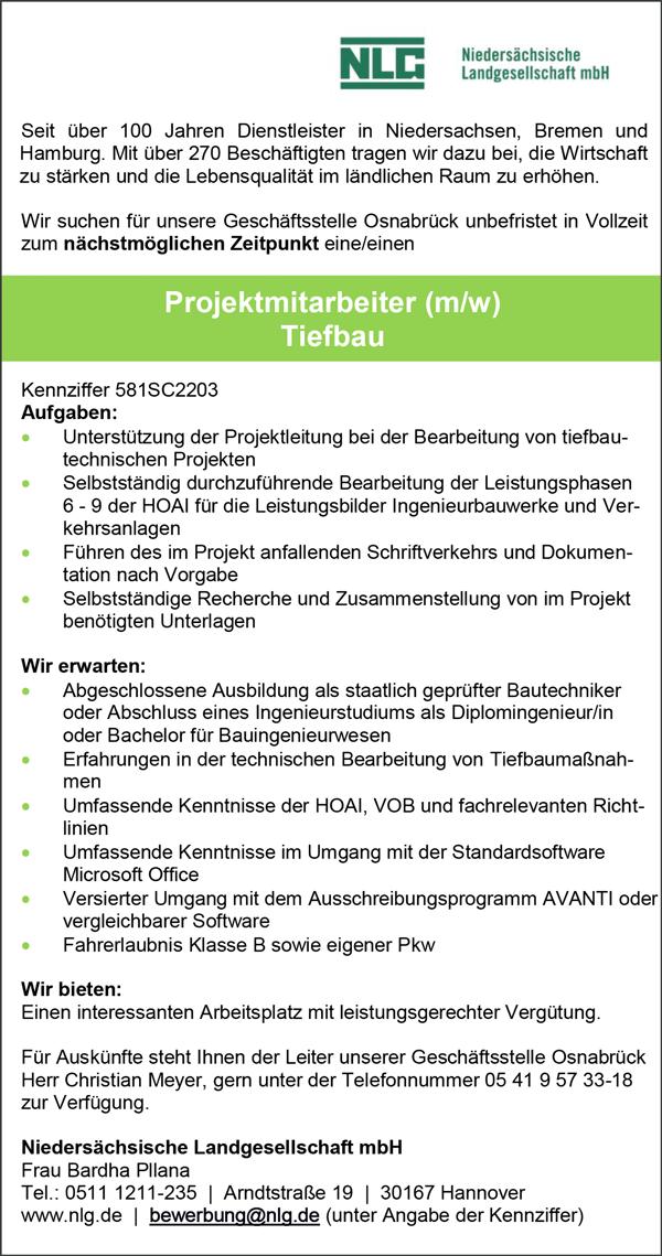 Projektmitarbeiter m/w   Tiefbau - Niedersächsische Landgesellschaft mbH - in Hannover - stellenecho.de