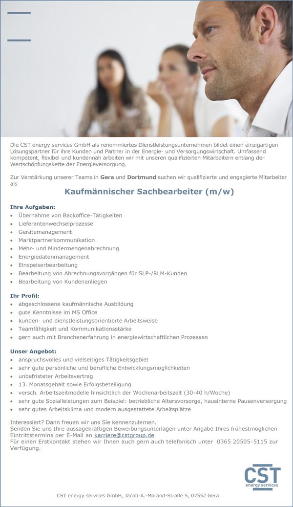 Kaufmännischer Sachbearbeiter m/w - CST energy services GmbH - in Gera - stellenecho.de