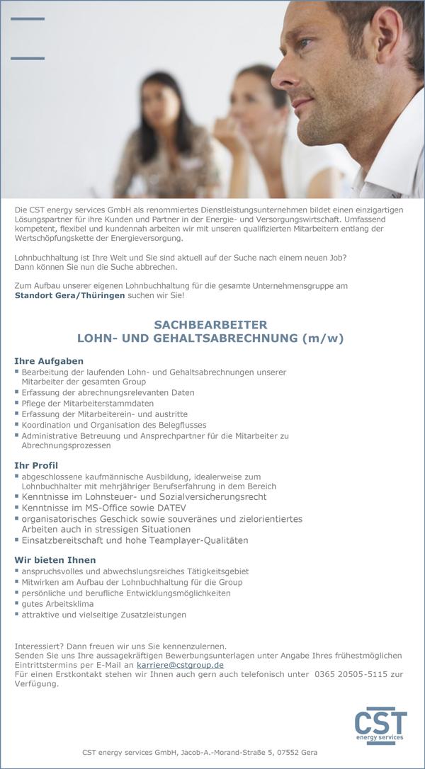 Sachbearbeiter Lohn- und Gehaltsabrechnung - CST energy services GmbH - in Gera - stellenecho.de