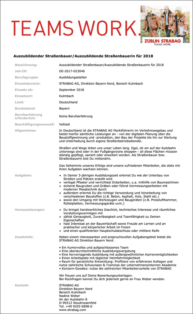 Auszubidender Straßenbauer / Auszubildende Straßenbauerin für 2018 - Strabag Direktion Bayern Nord - in Regensburg - stellenecho.de