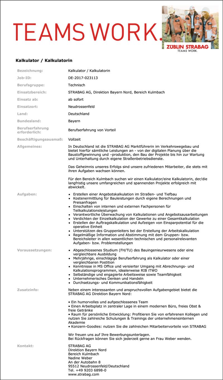 Kalkulator / Kalkulatorin - Strabag Direktion Bayern Nord - in Regensburg - stellenecho.de