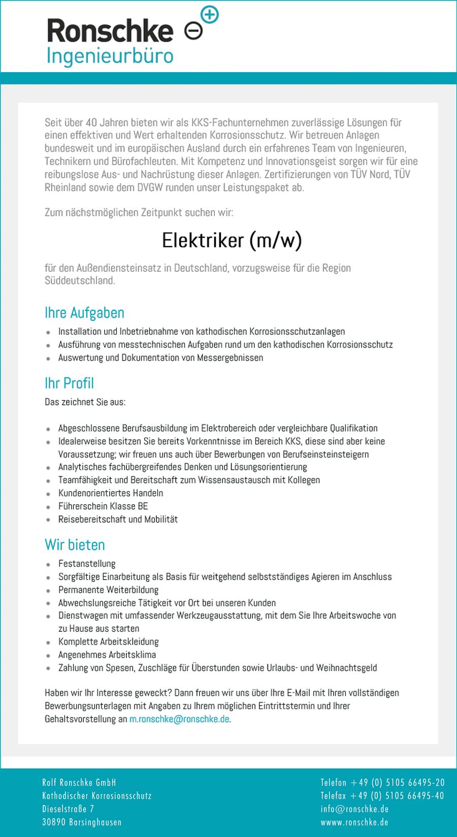 Elektriker m/w für den Einsatz im Außendienst / vorzugsweise für den Raum Süddeutschland - Rolf Ronschke GmbH - in Barsinghausen - stellenecho.de