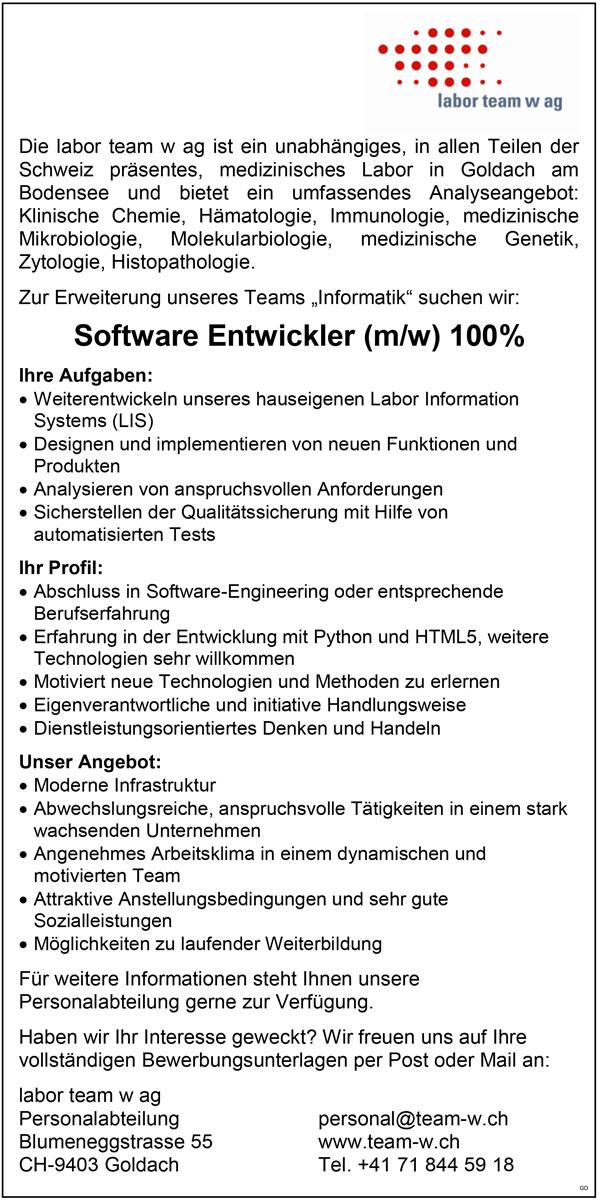 Software-Entwickler m/w, 100%  Software-Ingenieur / IT-Fachmann  Vollzeit - labor team w ag - in Goldach - stellenecho.de