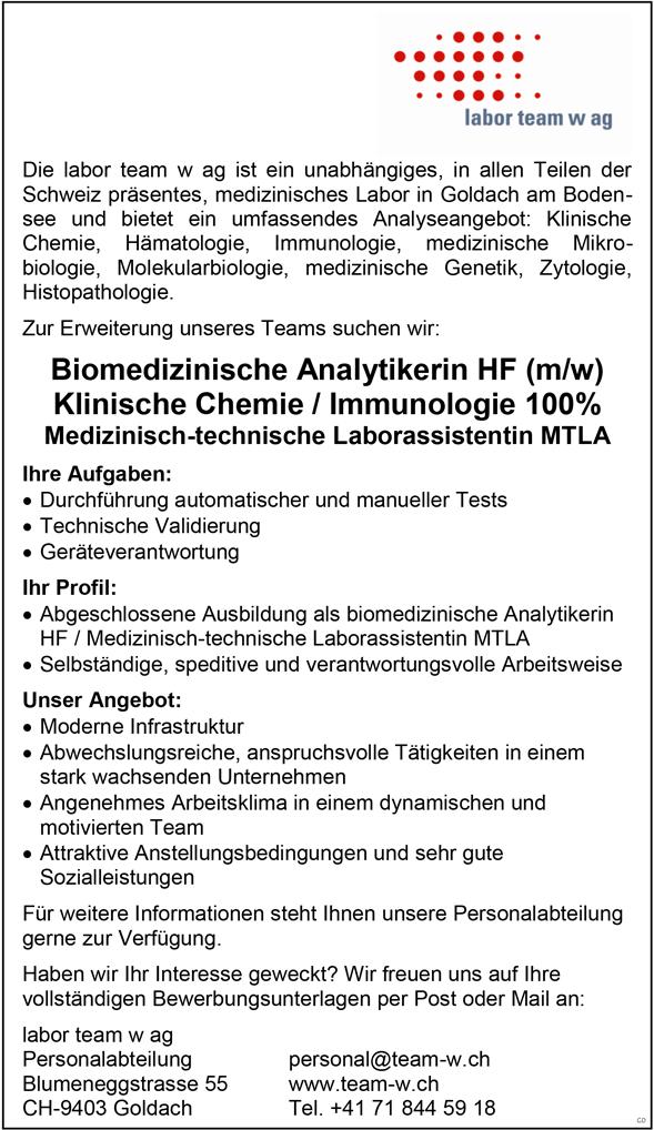 Biomedizinische Analytikerinnen / -Analytiker HF  Medizinisch Technische Laborassistenten / –  Assistentin / MTLA - labor team w ag - in Goldach - stellenecho.de