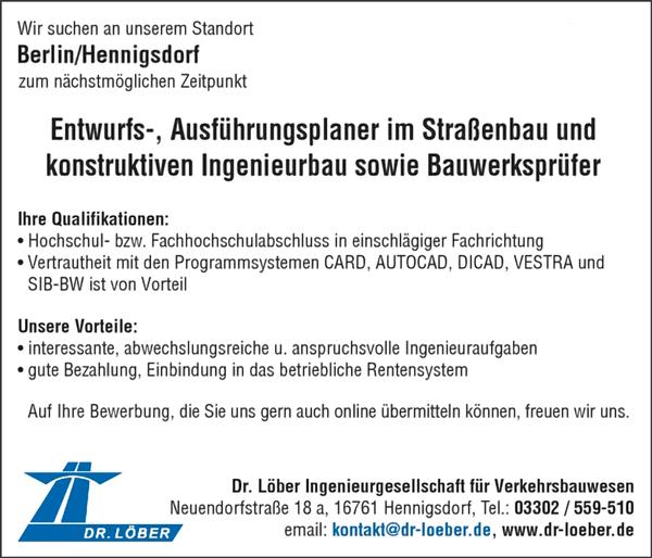 Entwurfs-, Ausführungsplaner im Straßenbau und konstruktiven Ingenieurbau m/w sowie Bauwerksprüfer m/w - Dr.Löber IGV mbH - in Hennigsdorf - stellenecho.de
