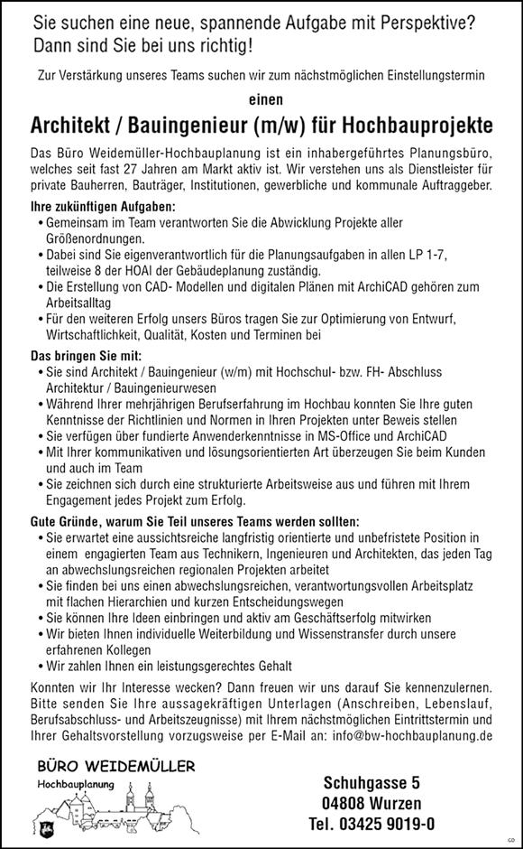 Architekt / Bauingenieur m/w für Hochbauprojekte - Büro Weidemüller Hochbauplanung - in Wurzen - stellenecho.de