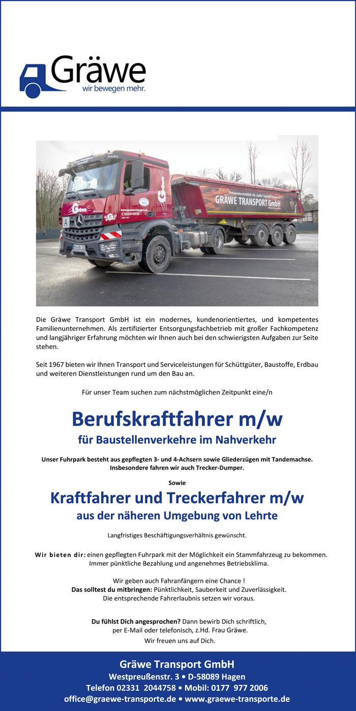 Berufskraftfahrer m/w  für Baustellenverkehre im Nahverkehr,  Kraftfahrer und Treckerfahrer / Bulldog m/w  aus der näheren Umgebung von Lehrte - Gräwe Transport GmbH - in Hagen - stellenecho.de