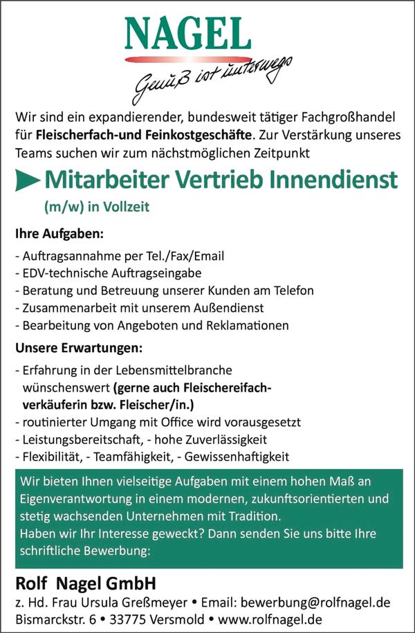 Mitarbeiter im Vertrieb / Innendienst m/w  in Vollzeit, Erfahrung in der Lebensmittelbranche wünschenswert - Rolf Nagel GmbH - in Versmold - stellenecho.de