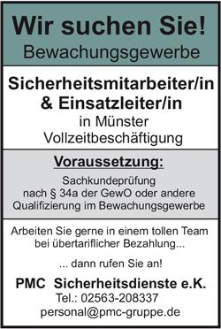 Sicherheitsmitarbeiterin / Sicherheitsmitarbeiter   und Einsatzleiterin / Einsatzleiter  im Bewachungsgewerbe in Münster / Westf. - PMC Unternehmensgruppe - in Stadtlohn - stellenecho.de