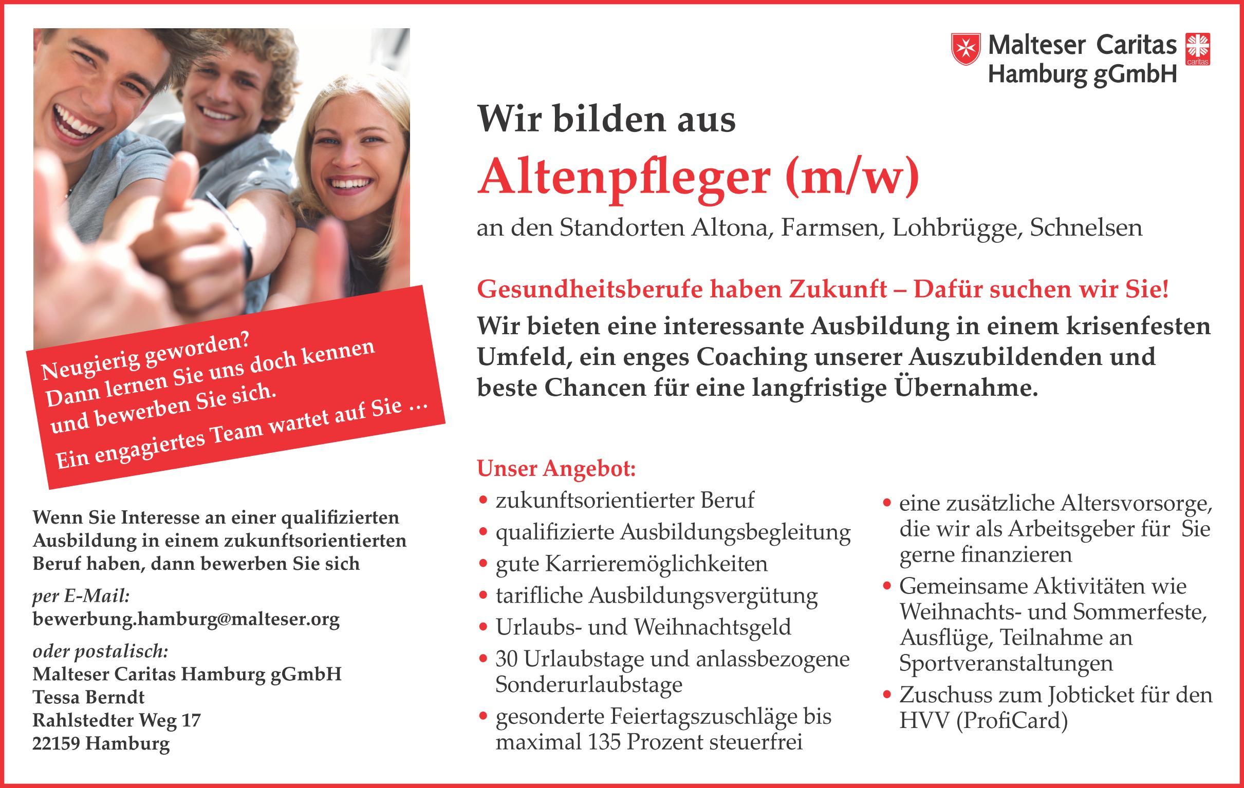 Altenpfleger (m/w)  an den Standorten Altona, Farmsen, Lohbrügge, Schnelsen - Malteser Caritas Hamburg gGmbH - in Hamburg - stellenecho.de