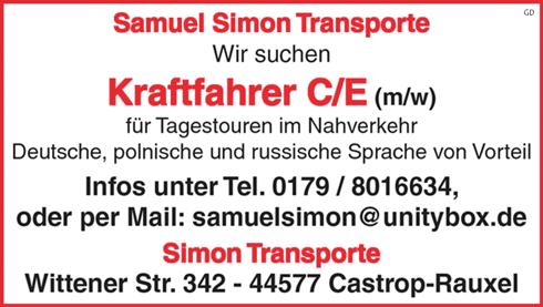 Kraftfahrer C/CE m/w  für Tagestouren und Nahverkehr, - Simon Transporte - in Castrop-Rauxel - stellenecho.de