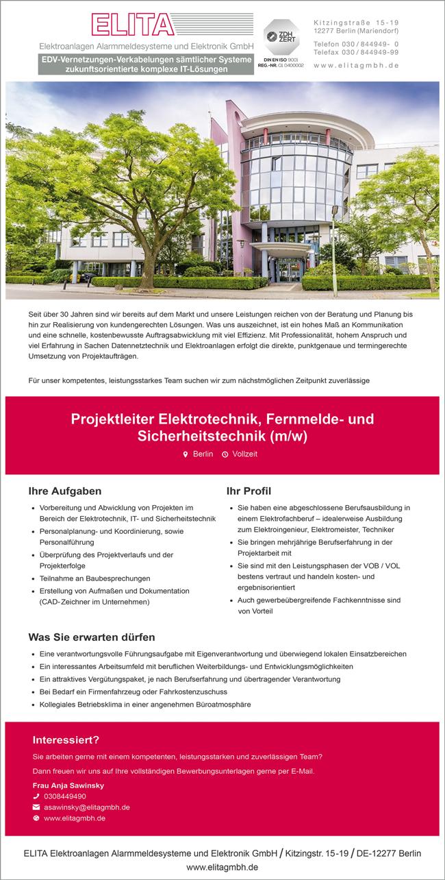 Projektleiter Elektrotechnik, Fernmelde- und Sicherheitstechnik m/w  in Vollzeit, - ELITA Elektroanlagen Alarmsysteme und Elektronik GmbH - in Berlin - stellenecho.de