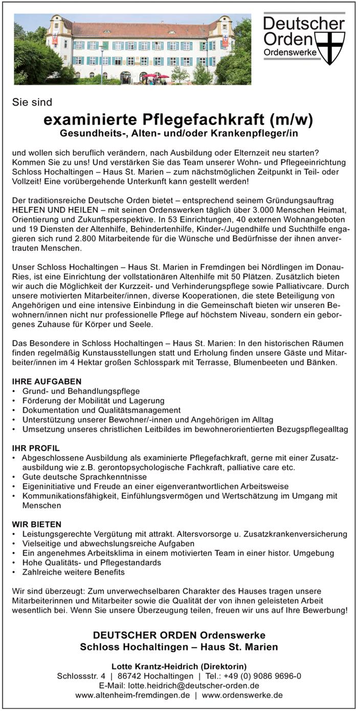 Examinierte Pflegefachkraft m/w  Gesundheits- und Krankenpfleger m/w, Altenpfleger m/w - Schloß Hochaltingen Haus St. Marien - in Fremdingen - stellenecho.de