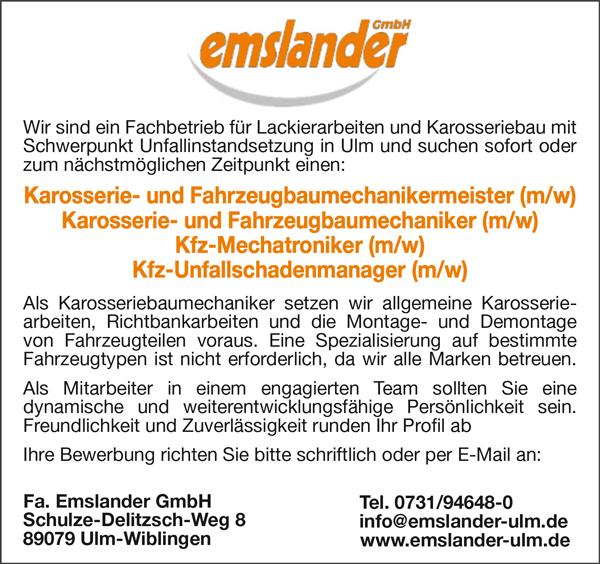 Karosserie- und Fahrzeugbaumechanikermeister m/w  Karosserie- und Fahrzeugbaumechaniker m/w  Kfz-Mechatroniker m/w  Kfz-Unfallschadenmanager m/w - Fa.Emslander GmbH - in Ulm-Wiblingen - stellenecho.de