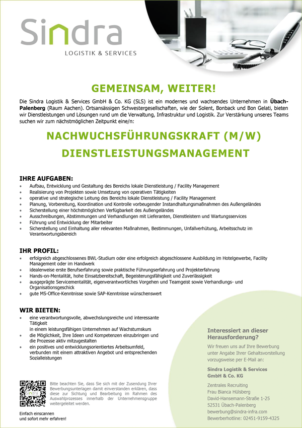 Nachwuchsführungskraft m/w  Dienstleistungsmanagement - Sindra Logistik & Services GmbH & Co. KG - in Übach-Palenberg - stellenecho.de